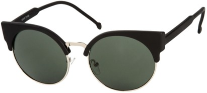 Angle of Vogel #1354 in Matte Black/Silver Frame, Women's Round Sunglasses