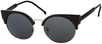 Angle of Vogel #1354 in Glossy Black/Silver Frame, Women's Round Sunglasses
