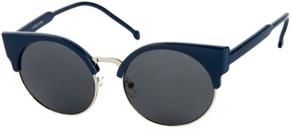 Angle of Vogel #1354 in Blue/Silver Frame, Women's Round Sunglasses