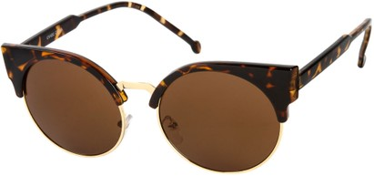 Angle of Vogel #1354 in Tortoise/Gold Frame, Women's Round Sunglasses