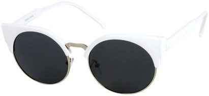 Angle of Vogel #1354 in White/Silver Frame, Women's Round Sunglasses