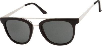 Angle of SW Retro Style #5465 in Glossy Black/Silver Frame with Smoke Lenses, Women's and Men's