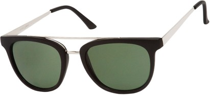 Angle of SW Retro Style #5465 in Matte Black/Silver Frame with Green Lenses, Women's and Men's