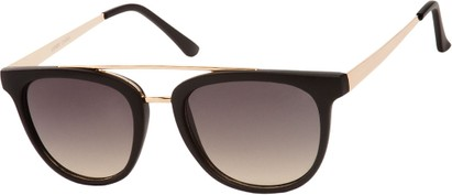 Angle of SW Retro Style #5465 in Matte Black/Gold Frame with Grey Lenses, Women's and Men's