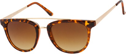 Angle of SW Retro Style #5465 in Tortoise/Gold Frame with Amber Lenses, Women's and Men's