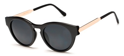 Angle of Talon #2240 in Black/Gold Frame with Smoke Lenses, Women's Cat Eye Sunglasses