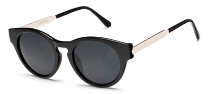 Angle of Talon #2240 in Black/Silver Frame with Smoke Lenses, Women's Cat Eye Sunglasses