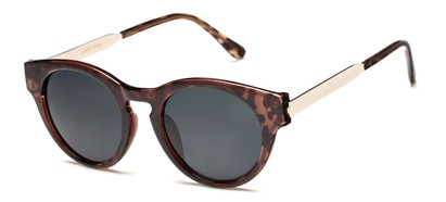 Angle of Talon #2240 in Brown Tortoise/Silver Frame with Smoke Lenses, Women's Cat Eye Sunglasses
