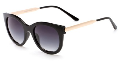 Angle of Lisbon #2859 in Black/Gold Frame with Smoke Lenses, Women's Round Sunglasses