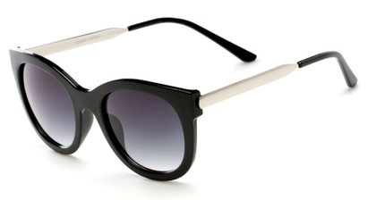 Angle of Lisbon #2859 in Black/Silver Frame with Smoke Lenses, Women's Round Sunglasses