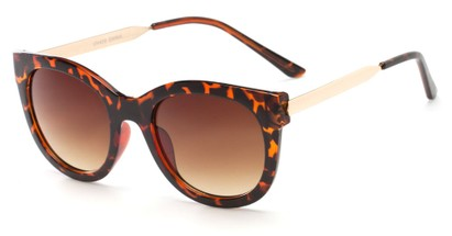 Angle of Lisbon #2859 in Tortoise/Gold Frame with Amber Lenses, Women's Round Sunglasses