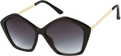 Angle of SW Pentagon Style #2266 in Black/Gold Frame with Smoke Lenses, Women's and Men's