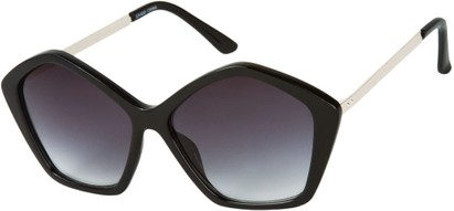Angle of SW Pentagon Style #2266 in Black/Silver Frame with Smoke Lenses, Women's and Men's