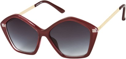 Angle of SW Pentagon Style #2266 in Dark Red Frame with Smoke Lenses, Women's and Men's