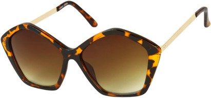 Angle of SW Pentagon Style #2266 in Tortoise Frame with Amber Lenses, Women's and Men's