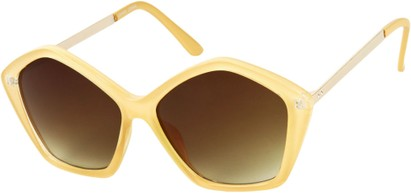 Angle of SW Pentagon Style #2266 in Tan Frame with Amber Lenses, Women's and Men's