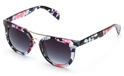 Angle of Alder #2864 in Blue/Pink Floral Frame with Smoke Lenses, Women's and Men's Retro Square Sunglasses