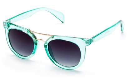 Angle of Alder #2864 in Teal Frame with Smoke Lenses, Women's and Men's Retro Square Sunglasses