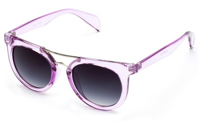 Angle of Alder #2864 in Purple Frame with Smoke Lenses, Women's and Men's Retro Square Sunglasses