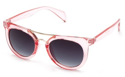 Angle of Alder #2864 in Pink Frame with Smoke Lenses, Women's and Men's Retro Square Sunglasses