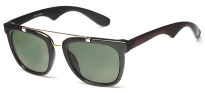 Angle of Middy #215 in Black/Gold Frame with Green Lenses, Women's and Men's Aviator Sunglasses