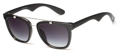 Angle of Middy #215 in Black/Silver Frame with Smoke Lenses, Women's and Men's Aviator Sunglasses