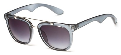 Angle of Middy #215 in Grey/Silver Frame with Smoke Lenses, Women's and Men's Aviator Sunglasses