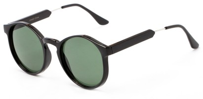 Angle of Rein #2868 in Black Frame with Green Lenses, Women's Round Sunglasses