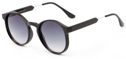 Angle of Rein #2868 in Black Frame with Grey Lenses, Women's Round Sunglasses