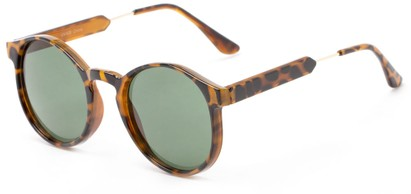 Angle of Rein #2868 in Light Tortoise Frame with Green Lenses, Women's Round Sunglasses