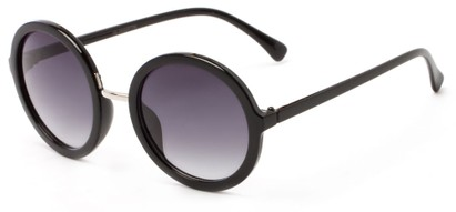 Angle of River #2869 in Glossy Black Frame with Grey Lenses, Women's Round Sunglasses