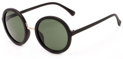 Angle of River #2869 in Matte Black Frame with Green Lenses, Women's Round Sunglasses