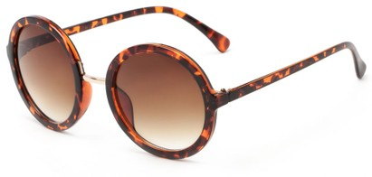 Angle of River #2869 in Tortoise Frame with Amber Lenses, Women's Round Sunglasses