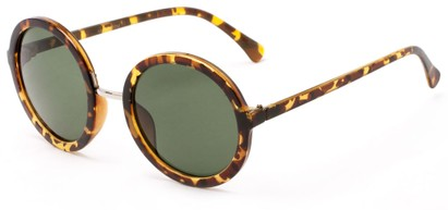Angle of River #2869 in Light Tortoise Frame with Green Lenses, Women's Round Sunglasses