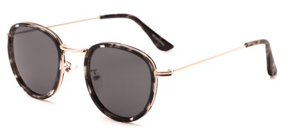 Angle of Madeira #2872 in Grey Tortoise/Gold Frame with Smoke Lenses, Women's and Men's Round Sunglasses