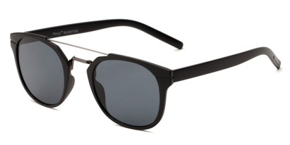 Angle of Tasmania #2887 in Black Frame with Smoke Lenses, Women's and Men's Retro Square Sunglasses