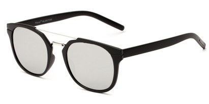 Angle of Tasmania #2887 in Black Frame with Silver Mirrored Lenses, Women's and Men's Retro Square Sunglasses