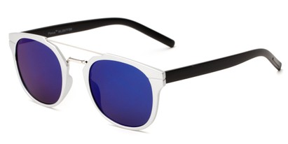 Angle of Tasmania #2887 in Silver/Black Frame with Blue Mirrored Lenses, Women's and Men's Retro Square Sunglasses