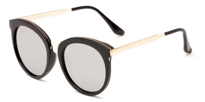 Angle of Soma #2889 in Black Frame with Silver Mirrored Lenses, Women's Round Sunglasses