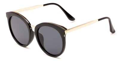 Angle of Soma #2889 in Black Frame with Grey Lenses, Women's Round Sunglasses