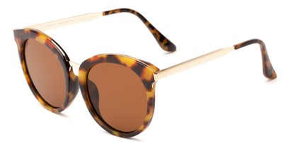 Angle of Soma #2889 in Tortoise Frame with Amber Lenses, Women's Round Sunglasses