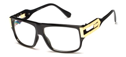 Angle of SW Oversized Nerd Style #2245 in Black/Gold Frame with Clear Lenses, Women's and Men's