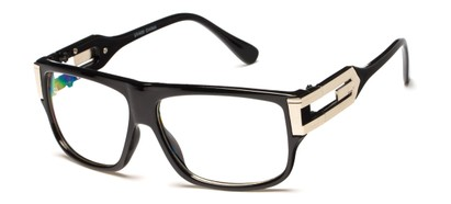 Angle of SW Oversized Nerd Style #2245 in Black/Silver Frame with Clear Lenses, Women's and Men's
