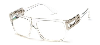 Angle of SW Oversized Nerd Style #2245 in Clear/Silver Frame with Clear Lenses, Women's and Men's