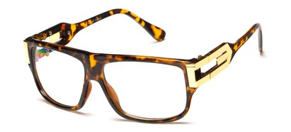 Angle of SW Oversized Nerd Style #2245 in Tortoise/Gold Frame with Clear Lenses, Women's and Men's