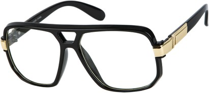 Angle of SW Oversized Nerd Style #1994 in Black/Gold Frame with Clear Lenses, Women's and Men's