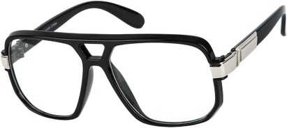 Angle of SW Oversized Nerd Style #1994 in Black/Silver Frame with Clear Lenses, Women's and Men's