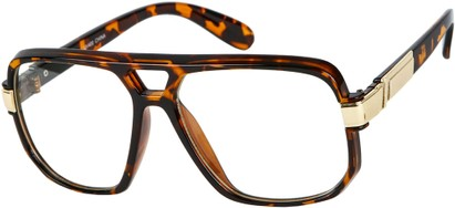 Angle of SW Oversized Nerd Style #1994 in Tortoise/Gold Frame with Clear Lenses, Women's and Men's