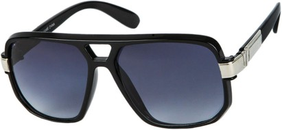 Angle of SW Oversized Aviator Style #1658 in Black Frame with Smoke Lenses, Women's and Men's
