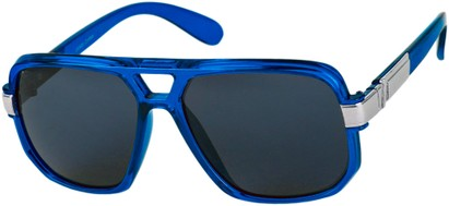 Angle of SW Oversized Aviator Style #1658 in Blue Frame with Smoke Lenses, Women's and Men's